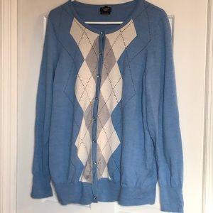 Transitional weight Merino Wool Argyle cardigan